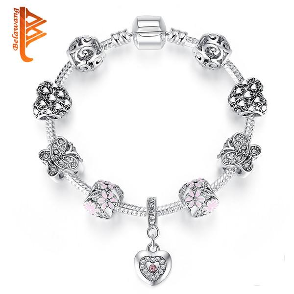 BELAWANG Antique Silver Charm Bracelet For Women Love Heart & Flower Bracelet With Cubic Zirconia Wedding Jewelry Mother Day Gift
