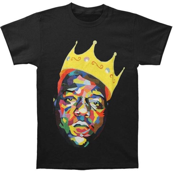 Erkek T-shirt Kısa Kollu O-Boyun Pamuk Ünlü B.I.G erkek Taç T-Shirt Pamuk Gevşek Kısa Kollu Erkek Gömlek