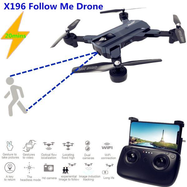 X196 Drone 20 Minuten Drohnen mit Kamera HD 2MP RC Racing Drone Folgen Sie mir FPV RC Quadcopter mit Kamera Dron VS SG900 SG700 XS809S