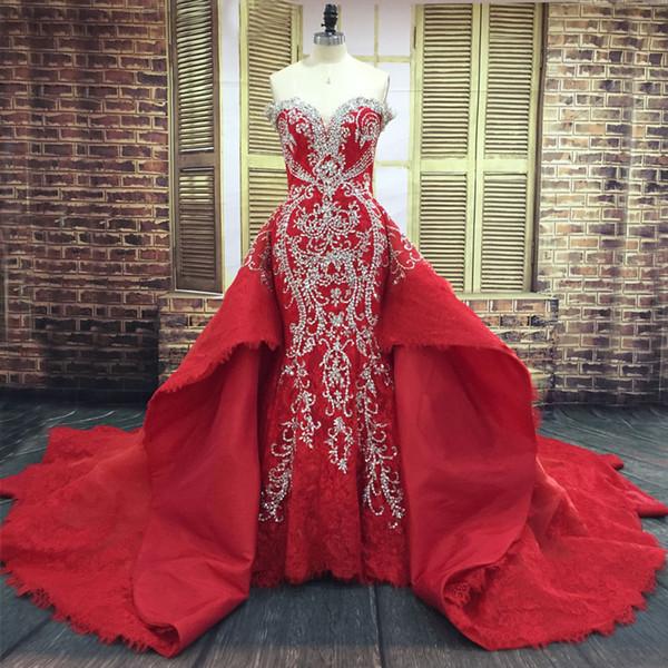 Real Red Luxus Dubai Brautkleid Plus Size Mermaid Brautkleider Bling Kristalle Perlen Stickerei Brautkleider mit abnehmbaren Zug