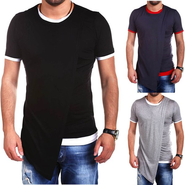 New Arrival Mens Long Tshirts Spring Autumn Short Sleeve Fashion Casual Split Big Top Tees Hip Hop Street Style Summer T-shirt