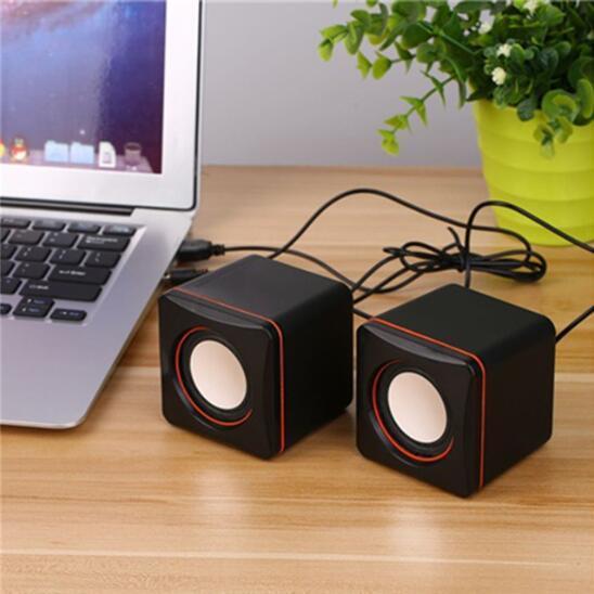 Altavoz de la computadora Portátil USB con cable Mini Altavoz Reproductor de música súper bajo de 3,5 mm para laptop Altavoz de escritorio 2 piezas por juego JXC
