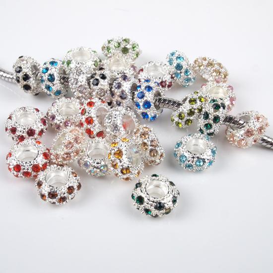 100 unids / lote colores mezclados Rhinestone Crystal Rondelle Metal espaciadores plateado gran agujero granos del encanto para la pulsera europea venta al por mayor 6x11 mm
