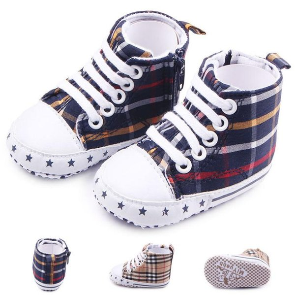 Hot Baby Girl Boy Plaid Shoes Toddler Prewalker Soft Bottom Grip shoes Infant One Side Zipper Shoes Boots