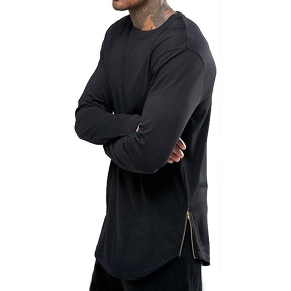 Black White Men's Long Sleeve Hip Hop Zipper Design T Shirt Round Neck Hem Arc Fashion Top Tshirt