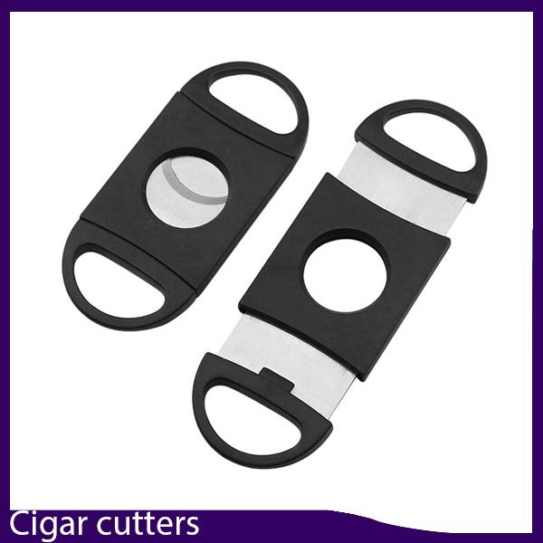 best selling Pocket Plastic Stainless Steel Double Blades Cigar Cutter Knife Scissors Tobacco Black New #2780 0266233-1