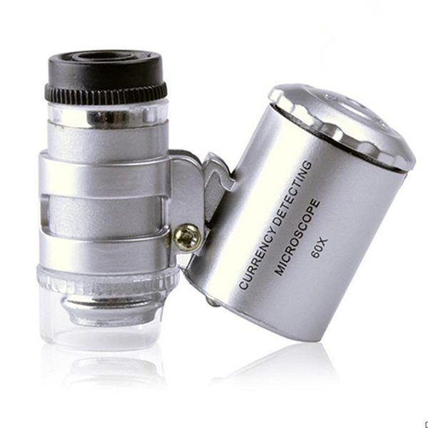 60x Handheld Magnifying Glass Mini Pocket Microscope Loupe UV Currency Detector Jeweler Magnifier With LED Light 92TV