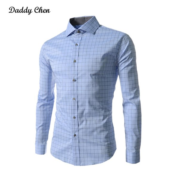 Dress shirt men slim fit style male for boys Casual shirt mens long sleeve Grid plaid cotton Classic designer Brand Hawaiian 4Xl