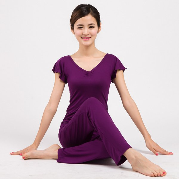 Abbigliamento per lo yoga Set Abbigliamento sportivo traspirante Abbigliamento sportivo Tuta sportiva Per le donne Yoga Fitness Abbigliamento Ruffle Sleeve Shirt
