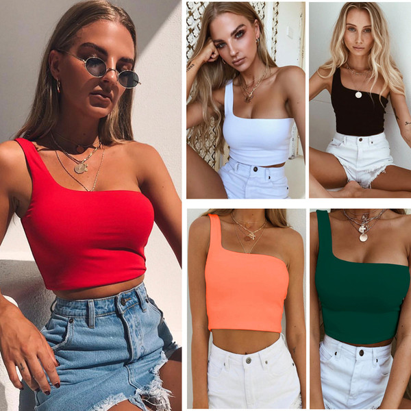 top popular Polyester one shoulder slope crop top 2018 women sexy fashion single sleeve T-shirt female solid tops 2019