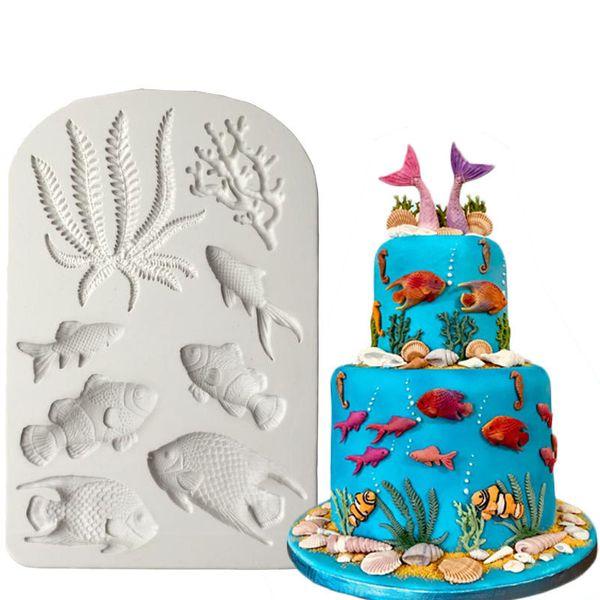 Luyou 1pcs Fish Seaweed Silicone Mold DIY Cake Border Fondant Cake Decorating Tools Sea Coral Cupcake Chocolate Moulds FM1588