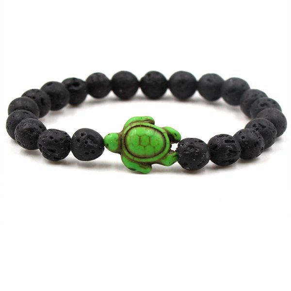 Essential Oil Perfume Diffuser 8mm Black Lava Stone Beads Bracelet green (sea) turtle Beads Bracelet Stretch Yoga Jewelry