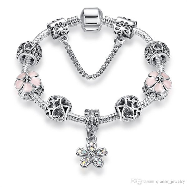 Wholesale Flowers Series Silver Plated Beads Bracelets DIY Jewelry Heart Charm Snake Chain Bracelets With Safety Chain For Women