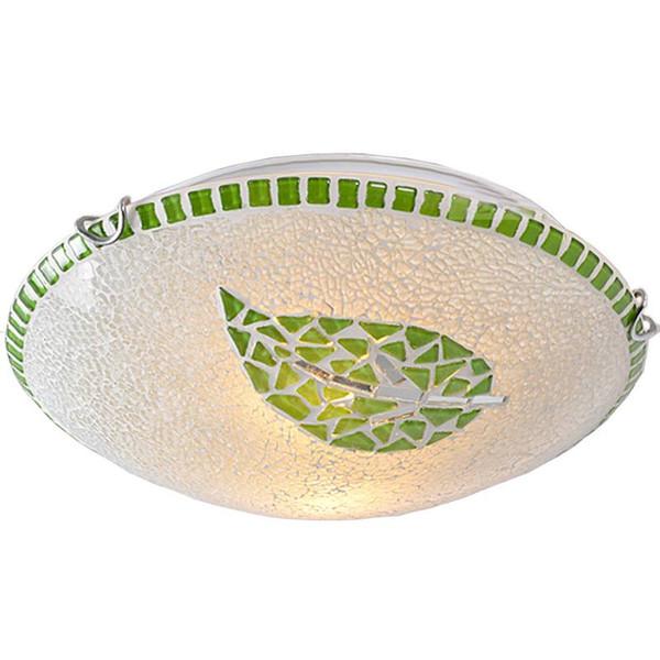 OOVOV Mosaico Verde Folha Childrens Room Ceiling Lamp Pastoral Sala de Jantar Luminárias de Teto de Cozinha Washroom Luz de Teto