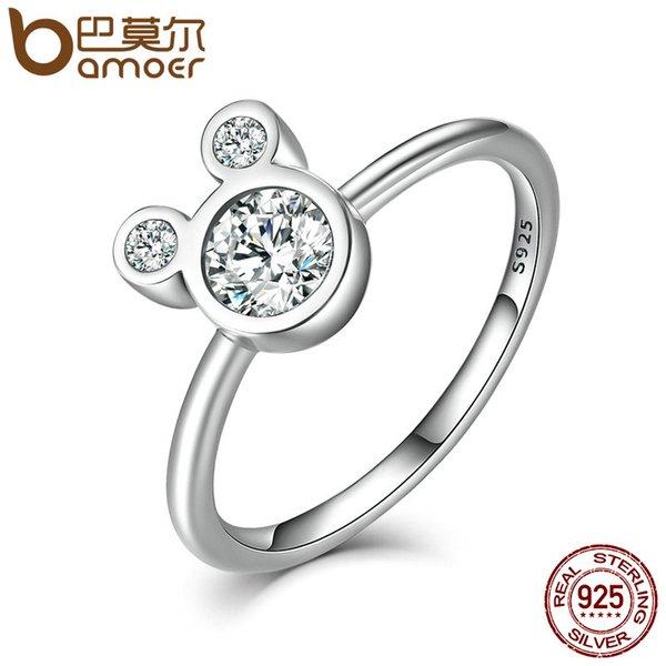 925 Ayar Gümüş Mic Için anahtar Fare Parmak Yüzük Göz Kamaştırıcı Kristal Moda Kadınlar Takı Hediyeler Boyutu 6 7 8