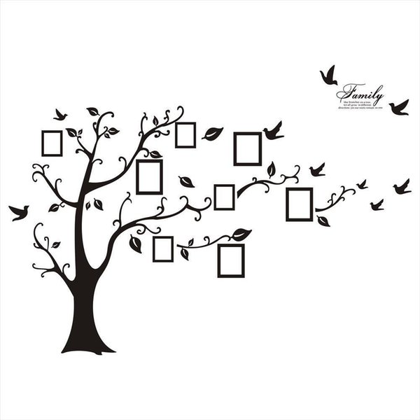 Wholesale Free Shipping:Large 200*250Cm/79*99in Black 3D DIY Photo Tree PVC Wall Decals/Adhesive Family Wall Stickers Mural Art Home Decor