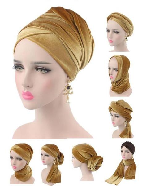 NEUE Luxus Plissee Samt Magie Turban Hijab Kopf Wrap Extra lange Rohr Indian Headwrap Schal Krawatte