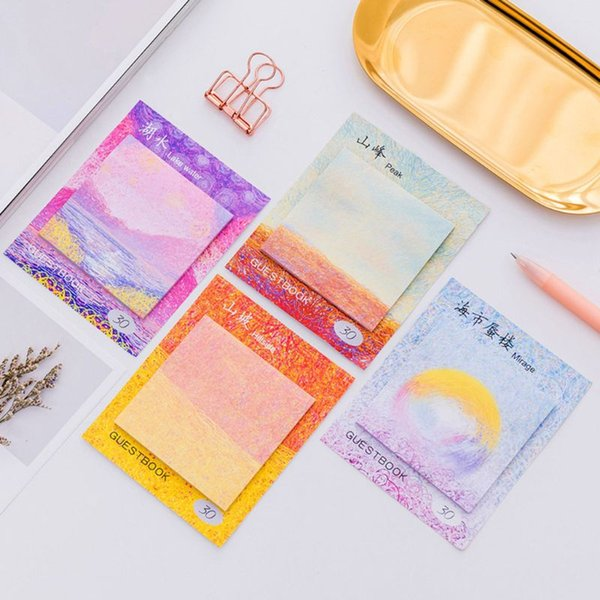 Creative Painting Pattern Sticky Notes Notebook Memo Pad Stationery Paper Stickers Office School Supplies
