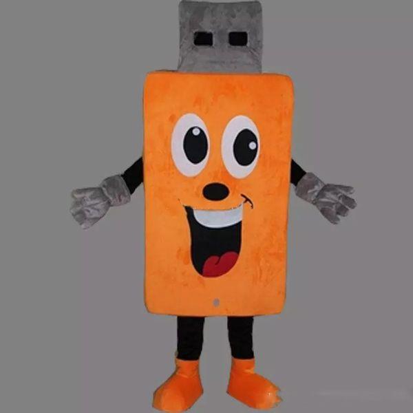 2018 высокое качество горячий милый оранжевый USB взрослый размер талисман костюм фантазии день рождения платье Хэллоуин карнавалы костюмы
