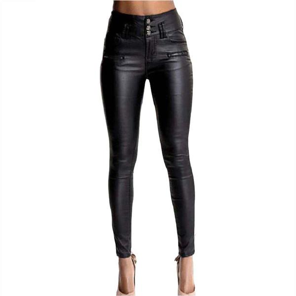 HMCHIME imitation leather PU denim pants package hip 2017 high quality fashion all match elastic black women coated jeans HM438