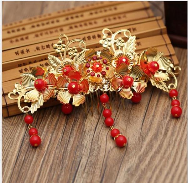 Bride, red tassel, costume, bridal headwear, classical cheongsam accessories, styling hair accessories