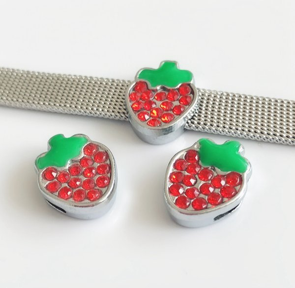 10PCS DIY Accessory 8MM Red Rhinestone Strawberry Slide Charms Beads Fit 8mm Pet Collar Belts Bracelets Strips