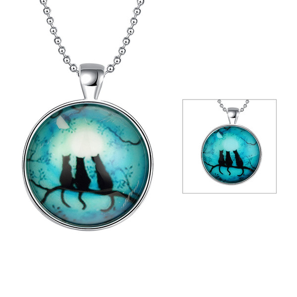 Women's Party Gift 925 Silver Pendant Necklace Three Cat Round Noctiluces Pendant Necklaces 46cm Good Quality Free Shipping n095
