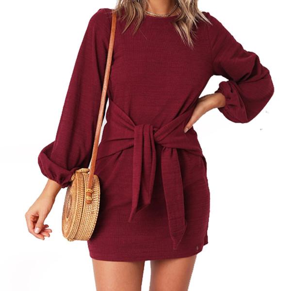 9d921aadd83 Casual Lady Bandage Women Mini Dress Autumn Female Lantern Sleeve Dresses  Tie Up Long Sleeve Party