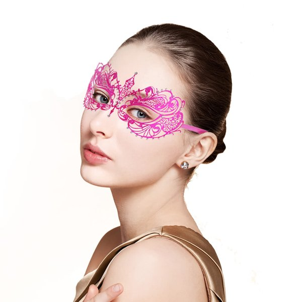 1pcs Half Face Mask Halloween Lace Metal Sexy Lady Masquerade mask Rhinestones Venetian Party Masks For Woman girls Disco Ball Christmas