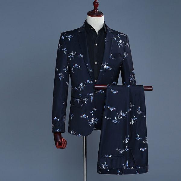 Tide Men Fashion Fly Bird Print Casual Slim Fit Groom Wedding Suit Latest Coat Pant Designs Costume