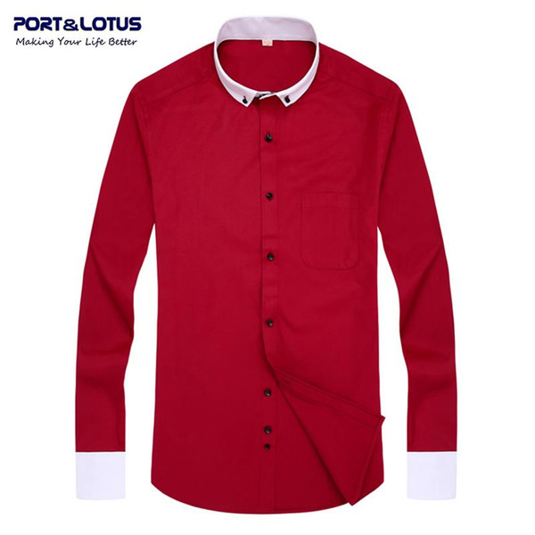 Wholesale- Port&Lotus Men Dress Shirt Brand clothing Contrast Color long sleeve turn-down collar solid collar 018 men clothes wholesale