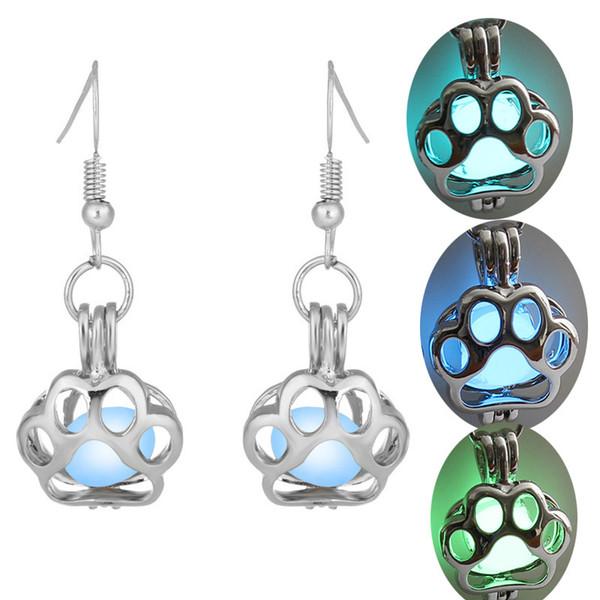 luminous bead dog paw earring hollow locket Cat foot stud Dangle & Chandelier Halloween lucky glow in the dark earrings for women drop ship