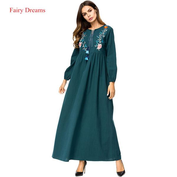 Abayas For Women Embroidery Long Sleeve Muslim Maxi Dress Green Arab Dubai Islamic Clothing Ladies Plus Size Fashion Robe 2018