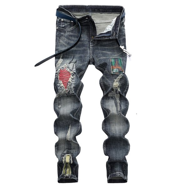 Male Hole Badge Embroidery Biker Jeans Brand Denim Trousers jeans hommes 2018 Fashion New Men's Casual Pants Patch 42