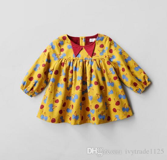 Ins selling Korean style girl full cherry print dress long sleeve round collar fall thick Dress 100% cotton little princess dress