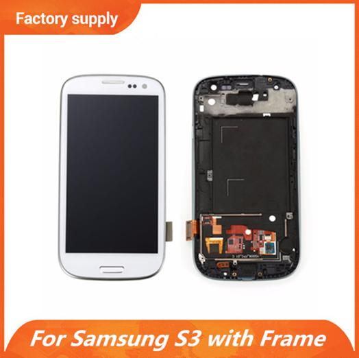 Best Quality For Samsung Galaxy S3 i9300 i747 T999 i535 L710 LCD Panel Touch Screen Digitizer Replacements with Frame & DHL Free Shippig