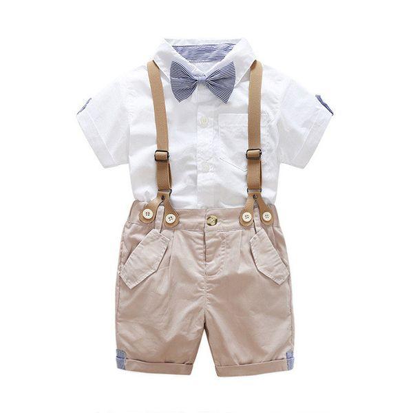 Yaz Bebek Giyim Setleri Çocuklar Erkek Beyler Giysileri Yenidoğan Kravat Kısa Kollu Gömlek Askı Pantolon Kıyafet Seti