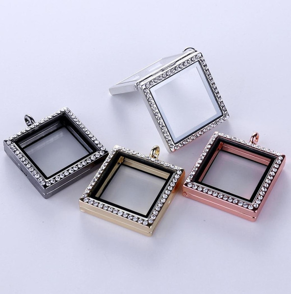 High Quality 30mm Floating Locket Square diamonds transparent glass frames floating charm lockets pendants A066