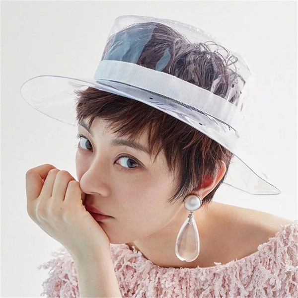 2018 New Wide Brim PVC Clear Rain Hat Summer Beach Travel Plastic Bucket Hats Fashion Solid Sun Cap UV Protection For Women
