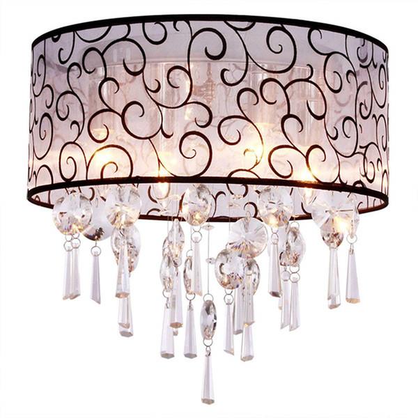 Drum Cloud 4 luci plafoniera di cristallo tessuto montato lampada moderna lampadario a sospensione lampadari per soggiorno camera da letto