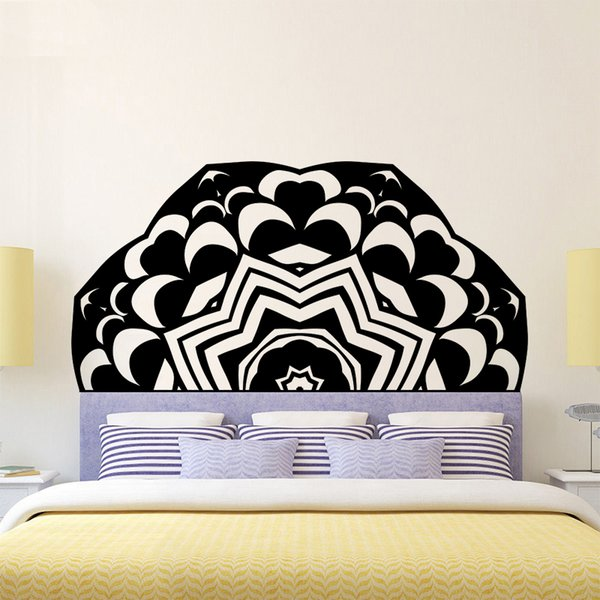 new product 72d09 51592 Creative DIY 3D Effect Headboard Sticker Wallpaper Bed Bedside Mandala  Vinyl Kids Room Bedroom Giant Headboard Flower Removablr Home Decor Damask  Wall ...
