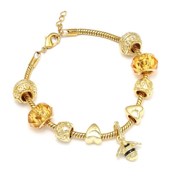 Nuovi monili caldi di modo braccialetti di fascino di cristallo dell'oro braccialetti con il pendente dell'ape misura il braccialetto per il regalo dei monili delle donne