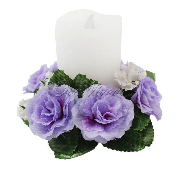 Wholesale-10Pcs/lot Floral Candle Rings Wedding Centerpieces Silk Roses Flowers Unity Candle Party Home Vase Decoration
