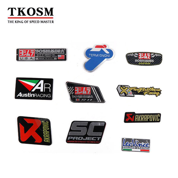 top popular TKOSM 3D Aluminum 3pcs lot Heat-resistant Motorcycle Exhaust Pipe Decal Sticker For Yoshimura Akrapovic MIVV Leovince Two Brother Arrow 2019