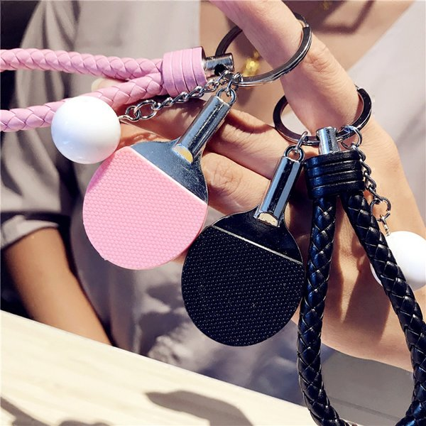 Sport Ping Pong Table Tennis Keychain Ping Pong Ball Key Chain Holder Leather Keyring Car Llaveros Key Chains Jewelry Gift Charm