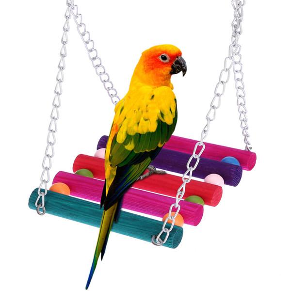 Balanço papagaio Pássaro Escalada Rede Suspensão Macaw Gaiola Gaiola Mastigar Cor Acrílico Beads Decoração Brinquedos Suprimentos Para Animais de Estimação 4 5sa Y