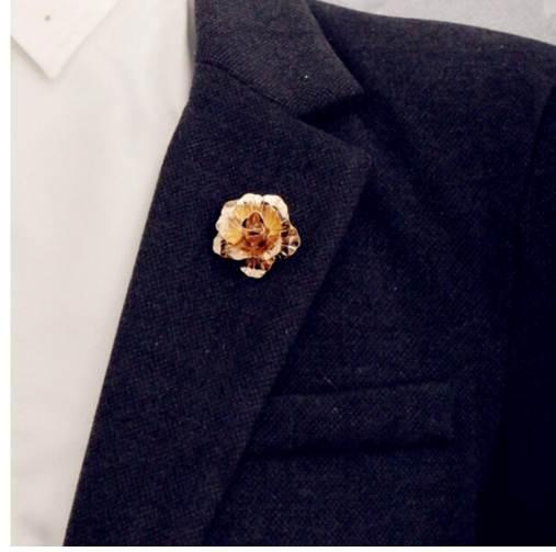 rose Gold color Rose Flower Brooch Men suit collar Accessories Classic Lapel Pins for Men's Suit Wedding Party button Pin
