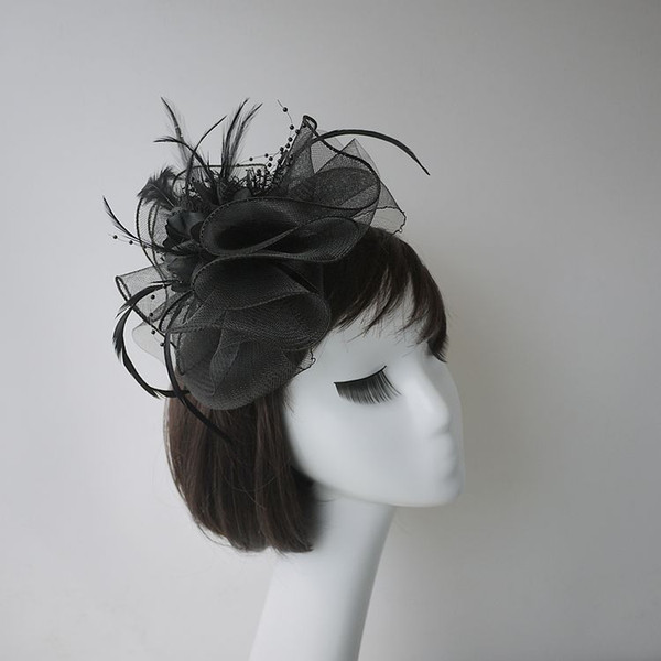 Hot Black Ladies Classic Bridal Hats Cap Fascinator Hats For Party Banqut Wedding 2018 Free Shipping