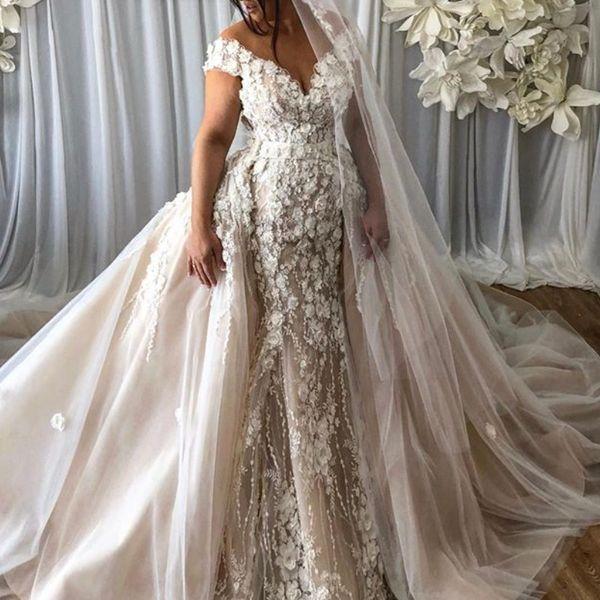 3D Petals Floral Applique Wedding Dress Glamorous Dubai Off Shoulder Mermaid Bridal Gowns Stylish Detachable Tulle Overskirt Wedding Gowns