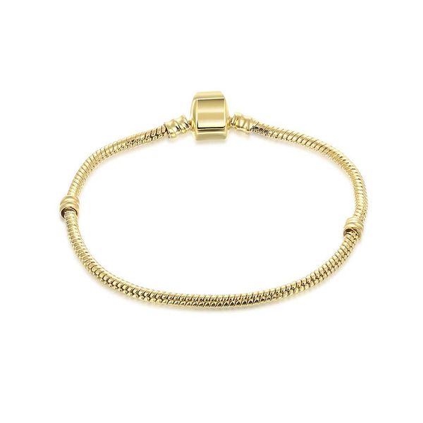 top popular 1pcs Drop Shipping Gold Bracelets Snake Chain Fit for pandora Golden Bangle Bracelet Women Children Gift 2021